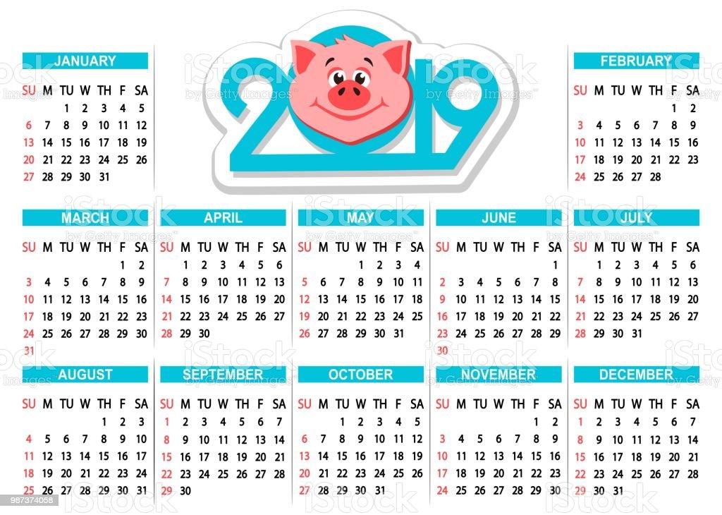 Calendario Dibujo 2019.Ilustracion De Calendario 2019 Con Cabeza De Cerdo De