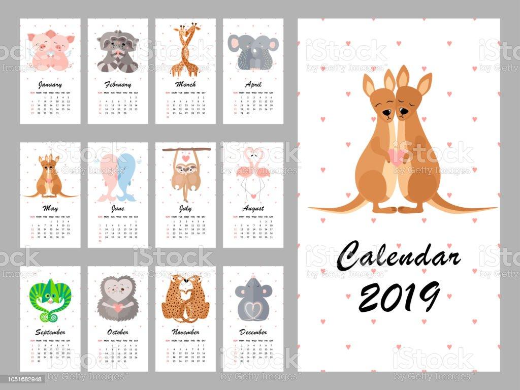 Calendario 2019 con animales lindos. Ilustración de vector - ilustración de arte vectorial