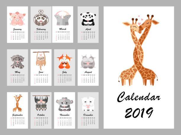 ilustraciones, imágenes clip art, dibujos animados e iconos de stock de calendario 2019 con animales lindos. ilustración de vector - calendario de naturaleza
