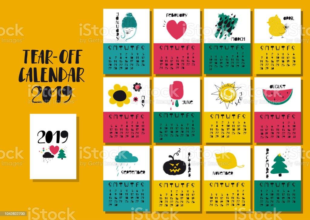 面白いイラストとカレンダー 2019 年。 ベクターアートイラスト