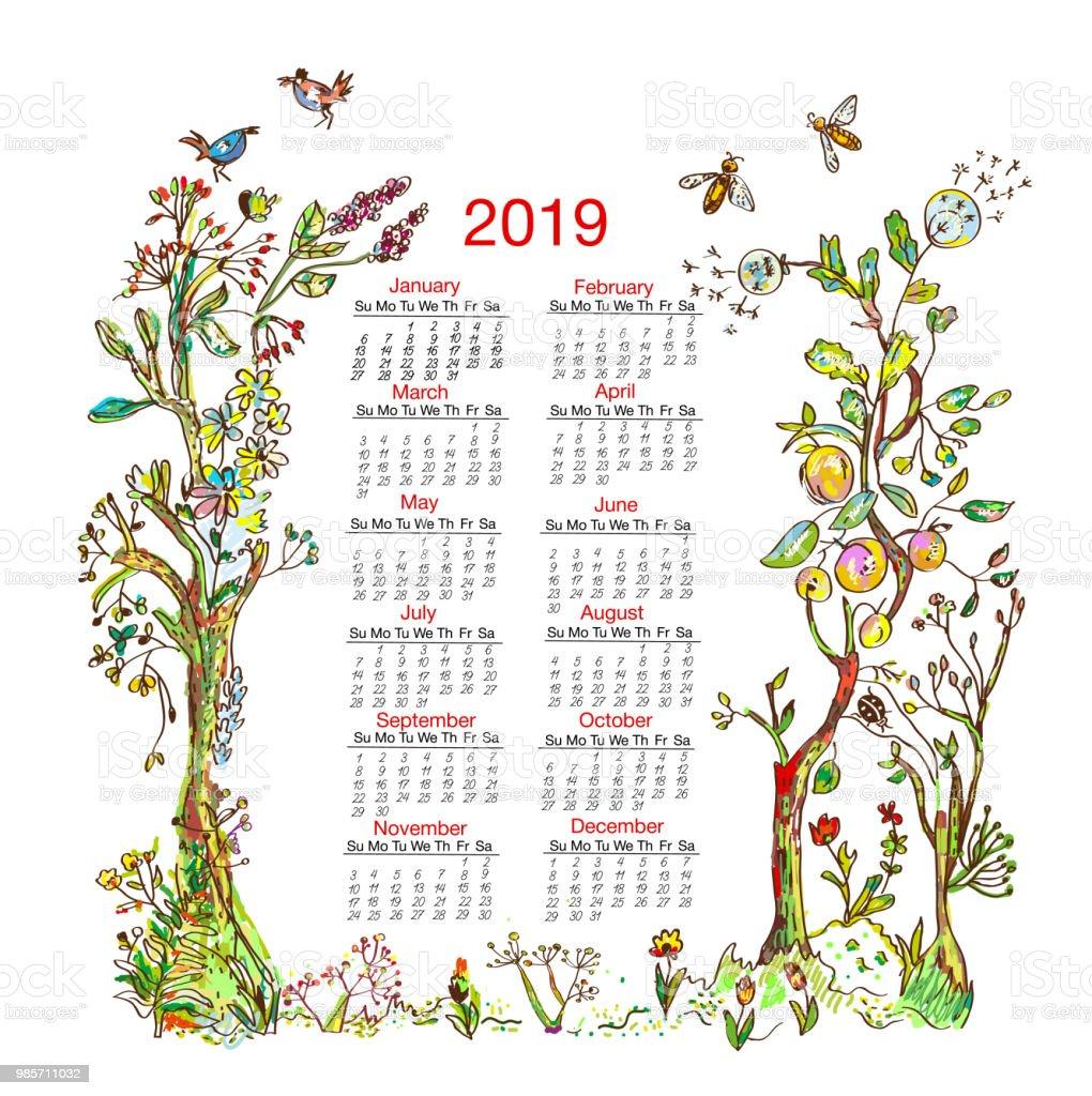 Ilustración de Calendario 2019 Con La Ilustración De Marco De ...