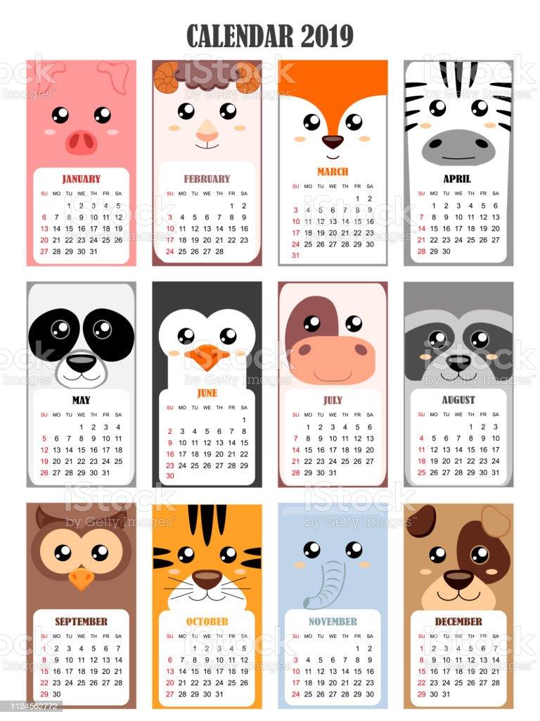 Calendario Tiger 2019.Kalender2019 Mit Schwein Schaf Fox Zebra Panda Pinguin Kuh
