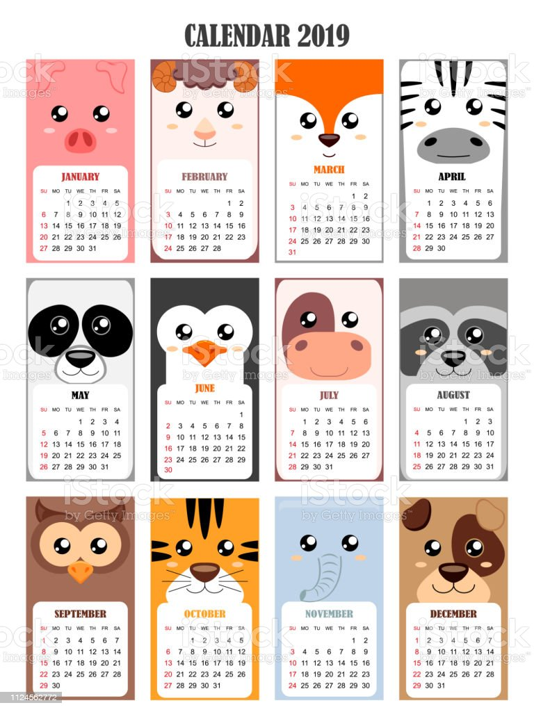 Calendar 2019 with pig,sheep,fox, zebra, panda, penguin, cow, raccoon, owl, tiger, elephant, dog vector art illustration