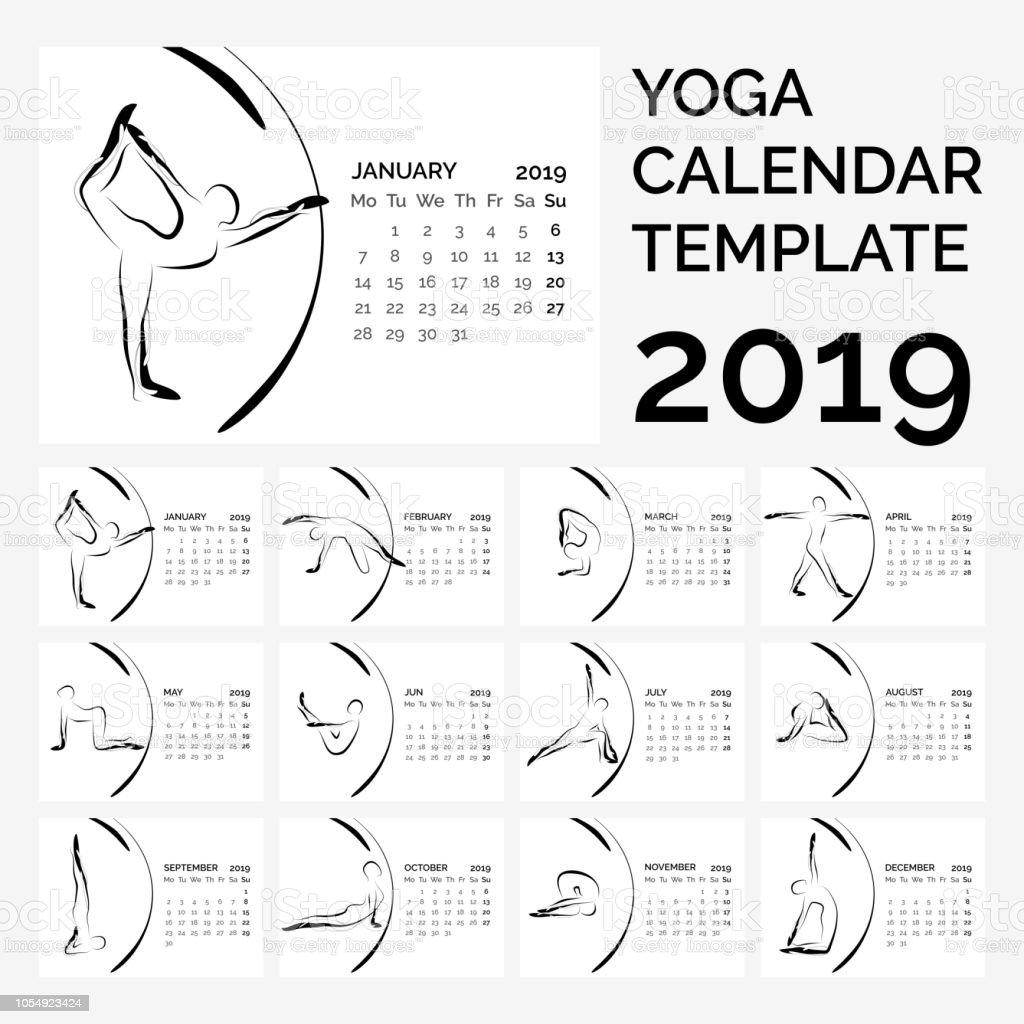 Calendario 2019 con posturas de yoga - ilustración de arte vectorial