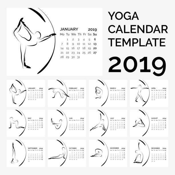 calendar 2019 with yoga poses - workout calendar stock illustrations, clip art, cartoons, & icons