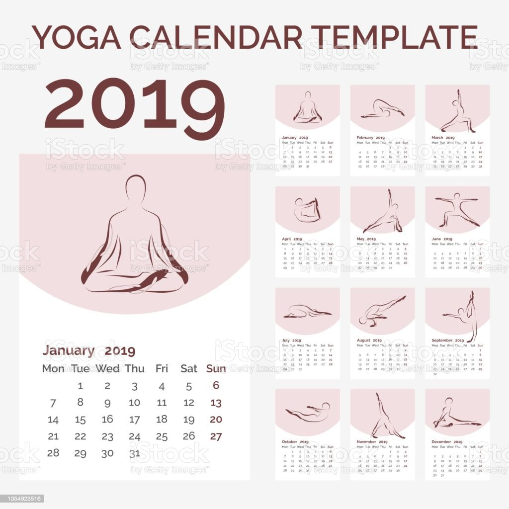 Calendario Fitness 2019.Calendar 2019 With Yoga Poses Stock Illustration Download