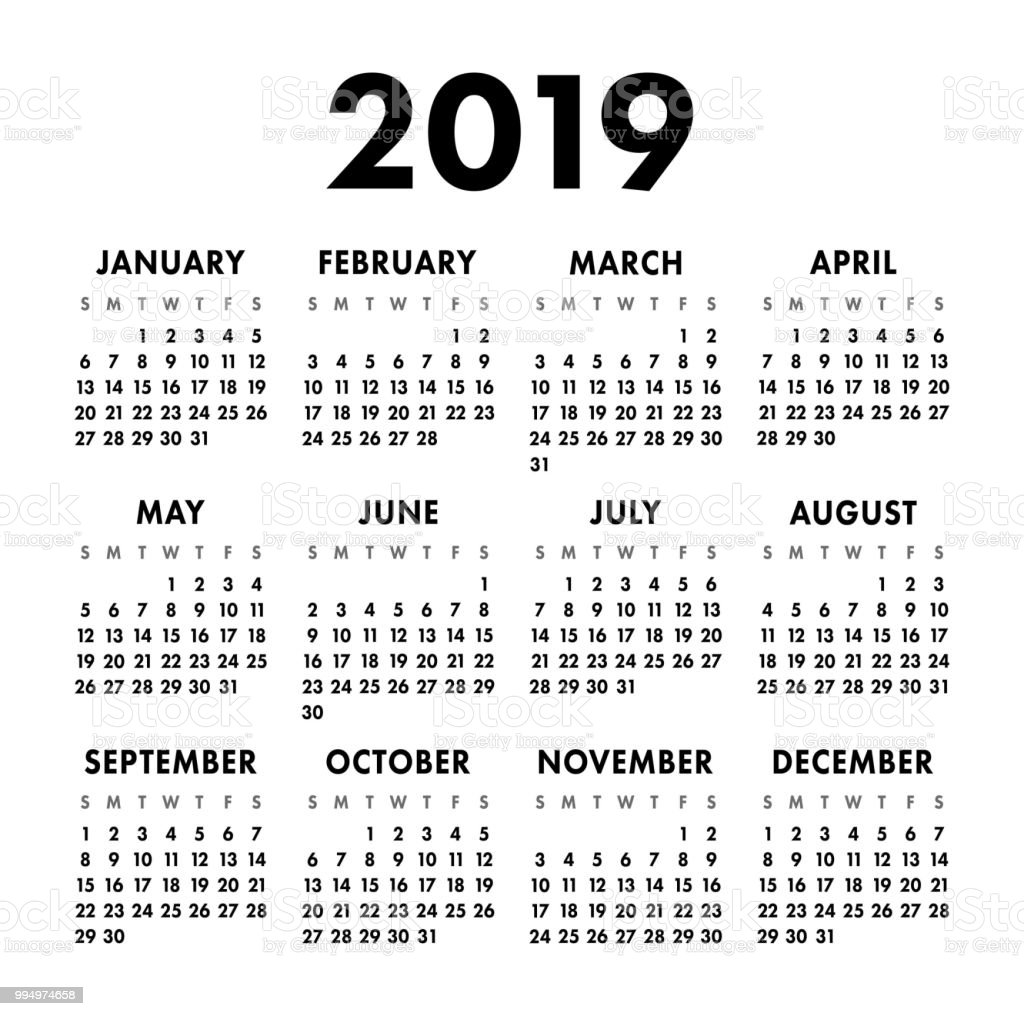 Calendar 2019 Year Black And White Vector Template Week Starts On