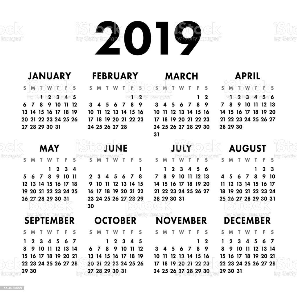 calendar 2019 year black and white vector template week
