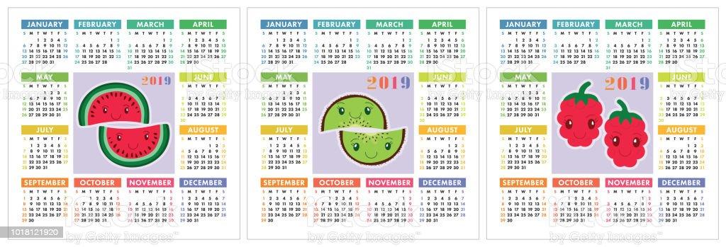 2019 Kalenderjahr Bunte Englisch Eingestellt Lächeln Früchte Beeren