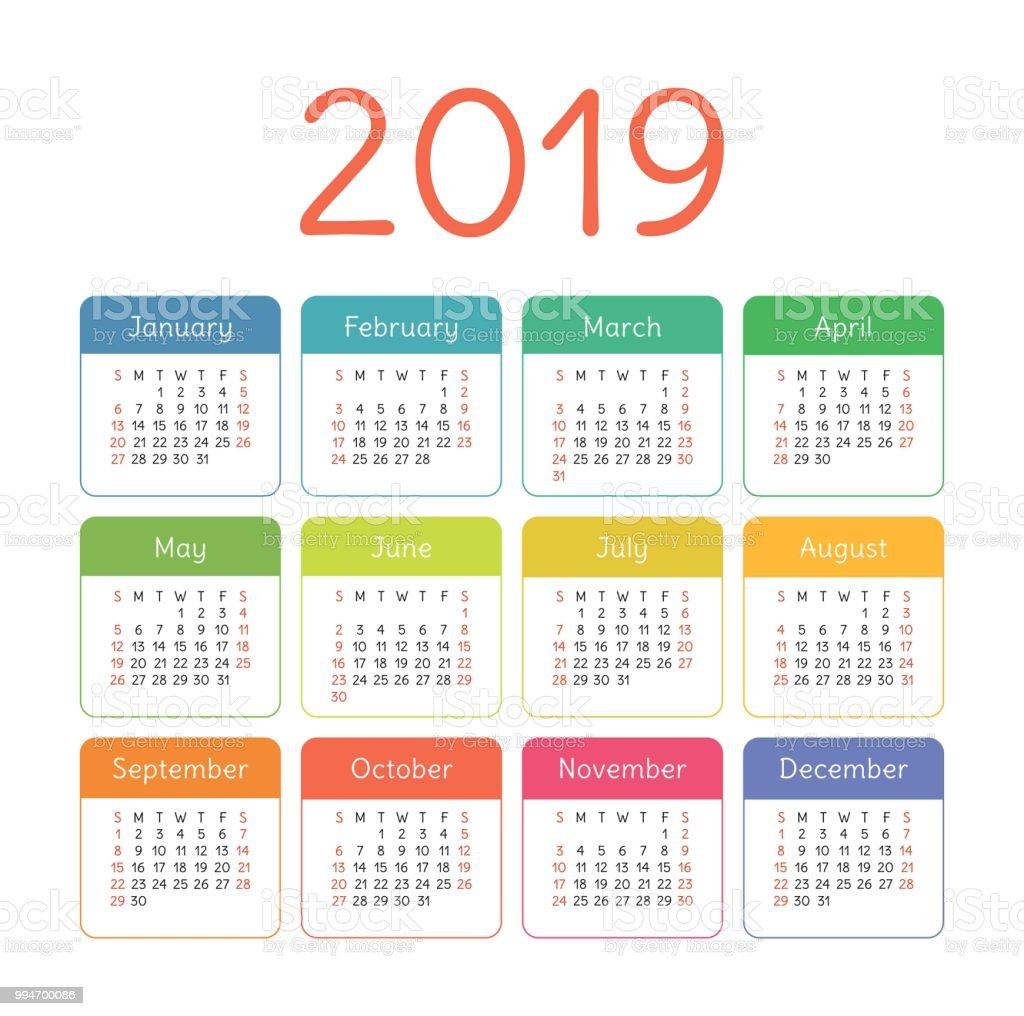 calendar 2019 year colorful vector template week starts on sunday basic color grid