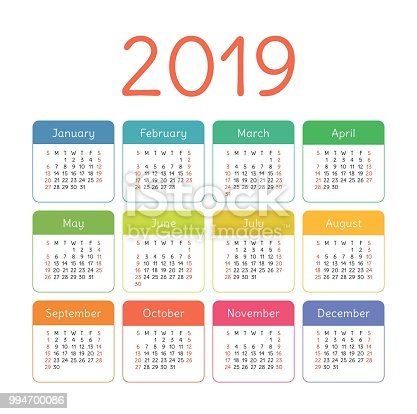 calendar 2019 year colorful vector template week starts on sunday basic color grid pocket square calender ready design stock vector art more images of