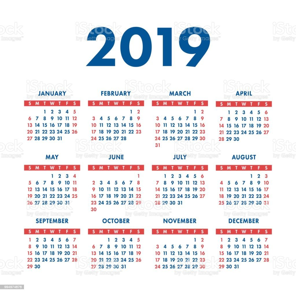 Calendar 2019 Year Pocket Square Calender Ready Design Red And Blue ...