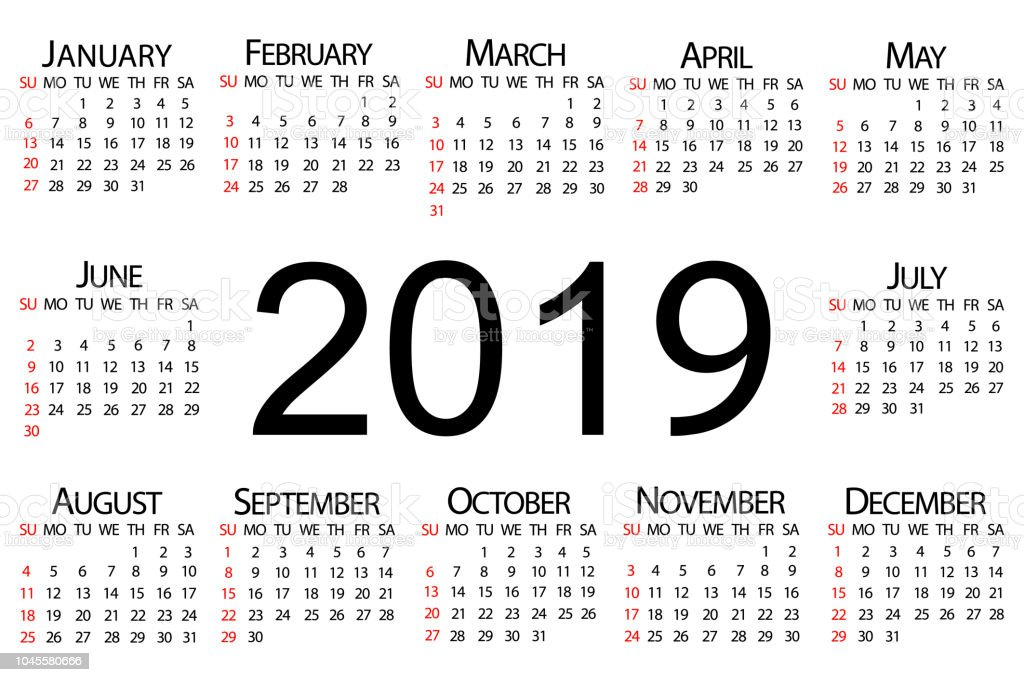 calendar 2019 year vector circle calendar 2019 week starts from sunday and ends with