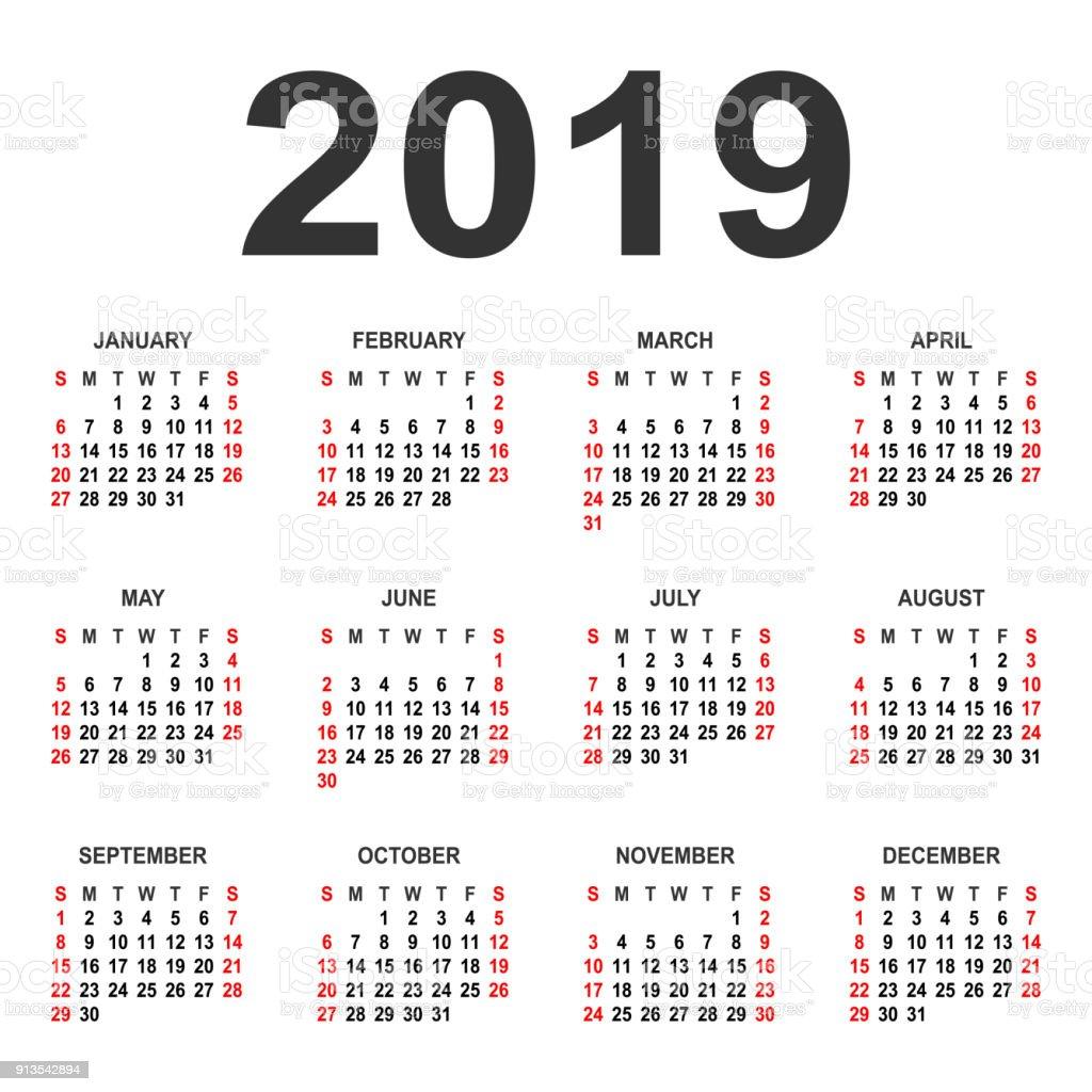 kalender 2019 r vektor formgivningsmall vektorgrafik och. Black Bedroom Furniture Sets. Home Design Ideas