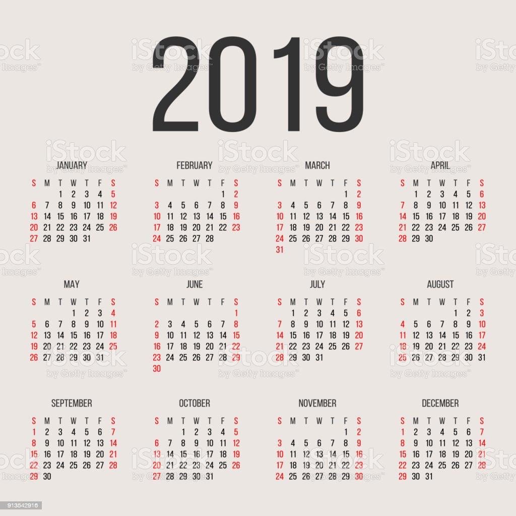 Ilustración de Plantilla De Diseño De Vectores De Año Calendario ...