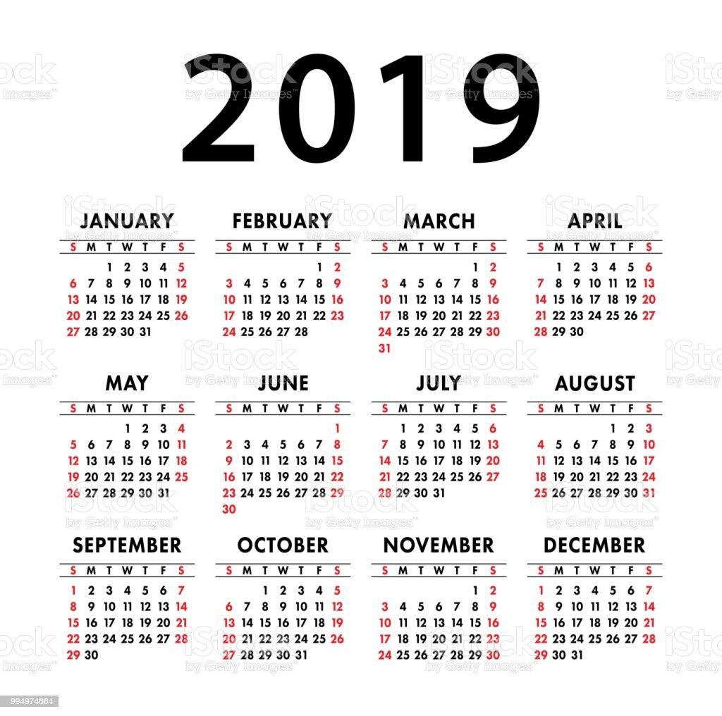 calendar 2019 year vector template english pocket calender week starts on sunday