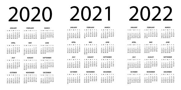 Calendar 2020 2021 2022 - Symple Layout Illustration. Week starts on Sunday. Calendar Set for 2020 2021 2022 years