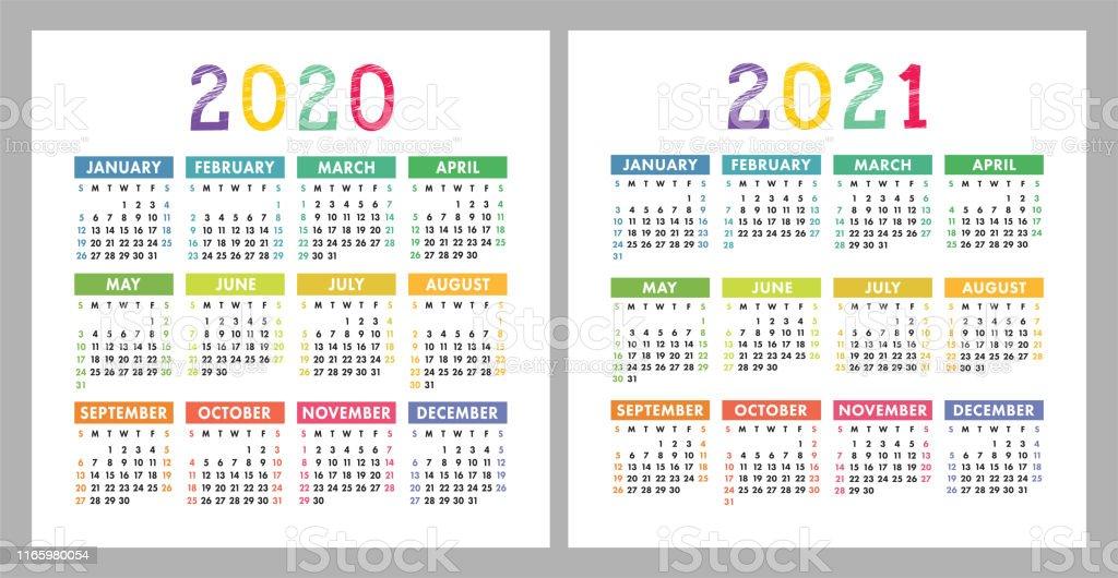 Calendrier 2020 2021 Modèle De Conception De Calendrier Vectoriel