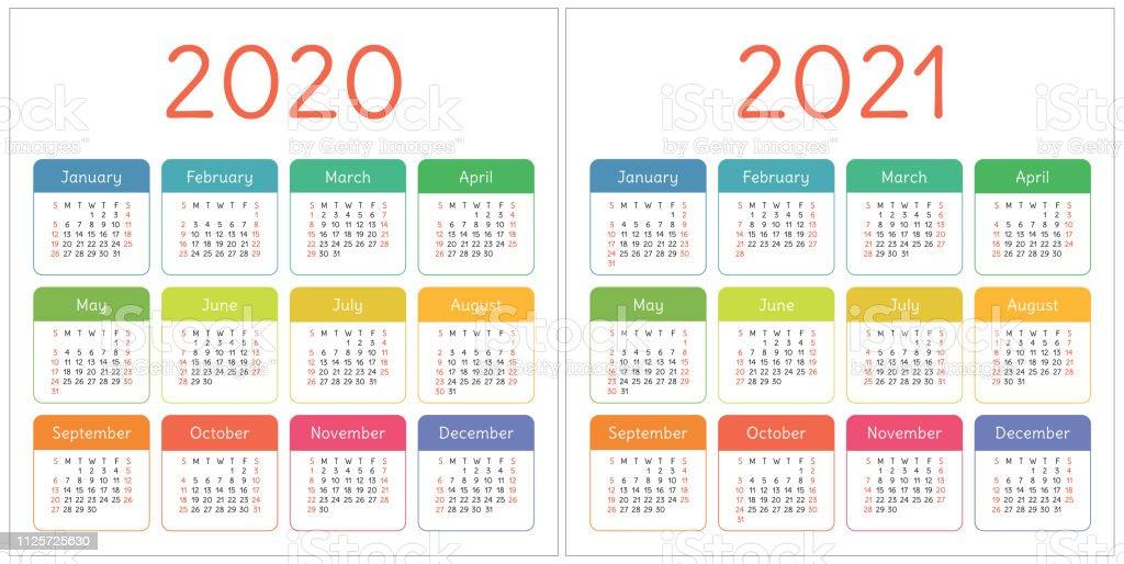 Calendario 2020 Con Foto Gratis.Calendar 2020 2021 Years Colorful Set Week Starts On Sunday