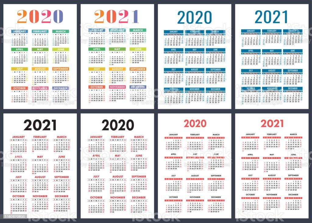 Calendario 2020 Semanas.Vetores De Calendario 2020 2021 Anos Jogo Colorido Do Vetor