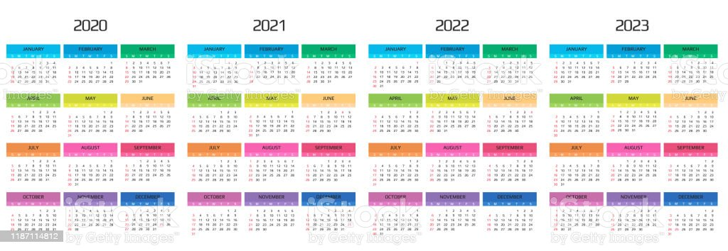 Event Calendar 2022.Calendar 2020 2021 2022 2023 Template 12 Months Include Holiday Event Week Starts Sunday Stock Illustration Download Image Now Istock