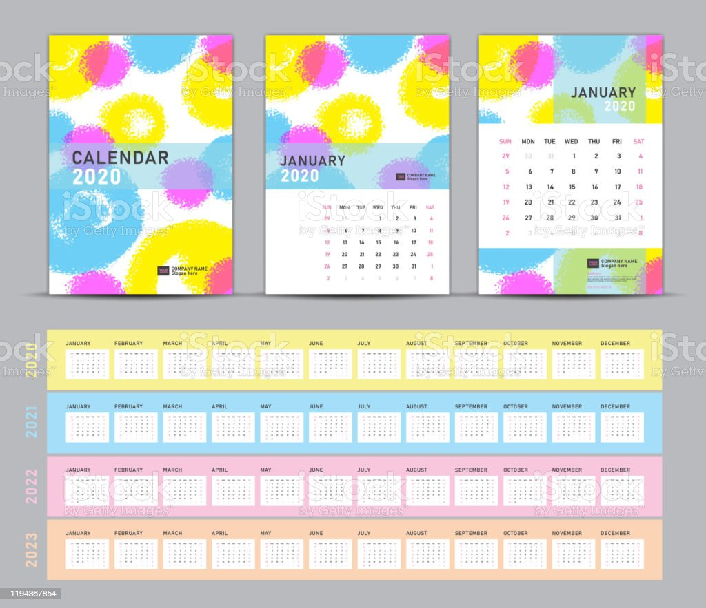 2022 Calendar Cover.Calendar 2020 2021 2022 2023 Template Desk Calendar 2020 Vector Cover Design On Pastel Painting Background Set Of 12 Months Simple Stationery Printing Media Advertisement A5 A4 A3 Size Stock Illustration Download Image Now Istock