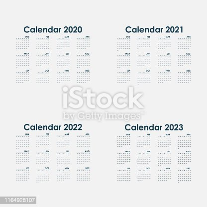 Calendar 2020, 2021,2022 and 2023 Calendar template.Calendar design.Yearly calendar vector design stationery template.Vector illustration.