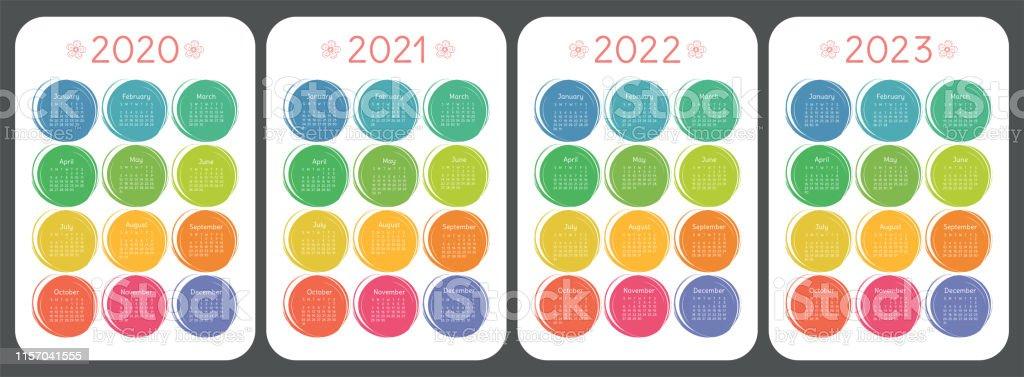 Calendrier 2020 2021 2022 Et 2023 Style Coloré De Croquis Denfant
