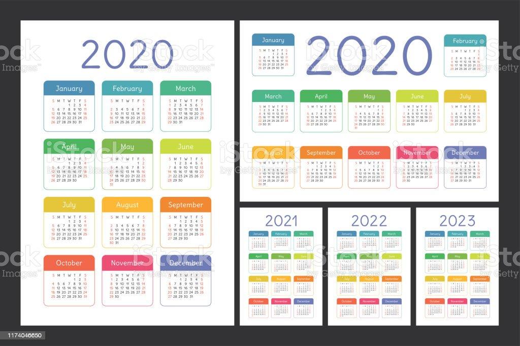 Calendrier 2020 2021 2022 Et 2023 Ensemble De Vecteur De Couleur