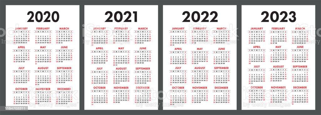 Calendar 2020 2021 2022 And 2023 English Color Vector Set ...