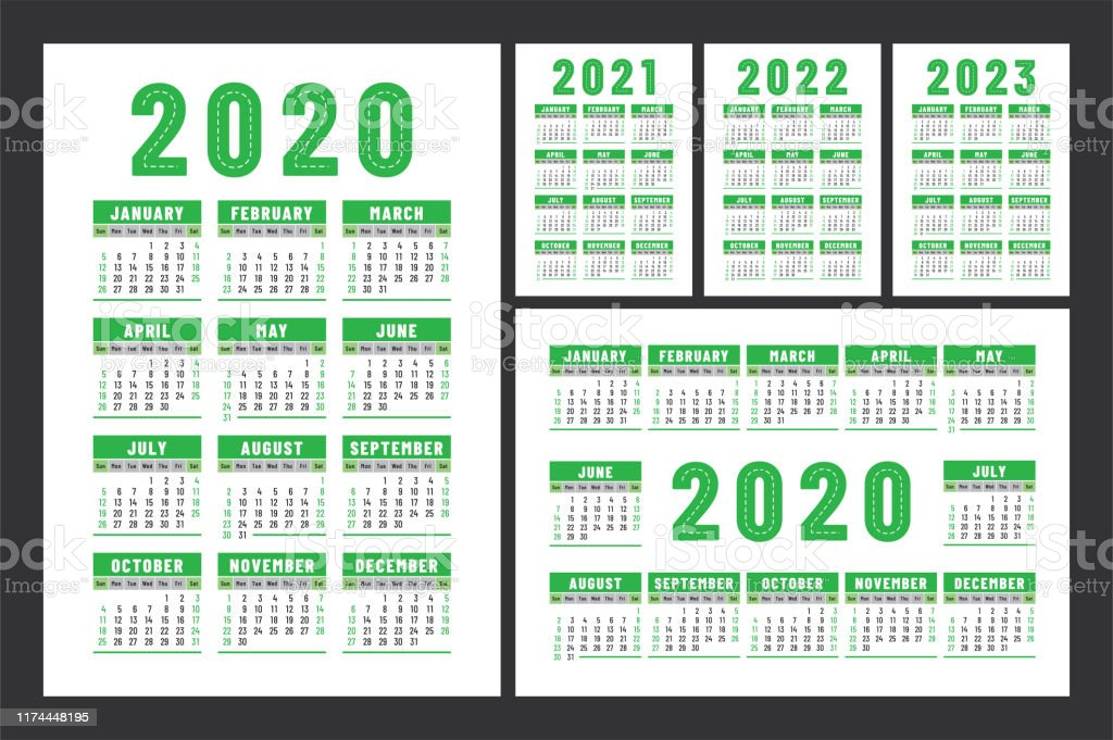 2022 2023 Pocket Calendar.Calendar 2020 2021 2022 And 2023 English Color Vector Set Wall Or Pocket Calender Template Design Collection New Year Week Starts On Sunday Stock Illustration Download Image Now Istock