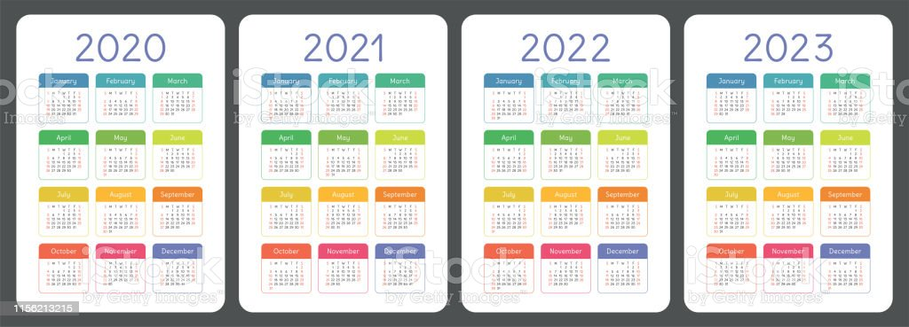 Calendar 2020 2021 2022 And 2023 English Colorful Vector ...