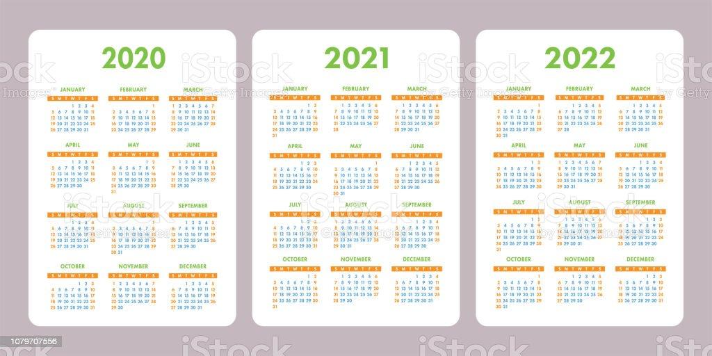Calendrier 2020 Avec Semaine.Calendrier 2020 2021 2022 Ensemble Colore La Semaine