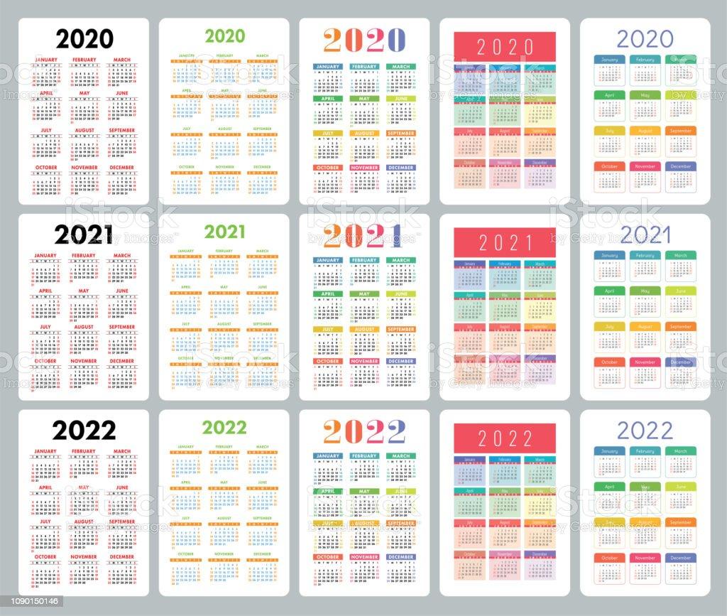 Calendrier 2021 Avec Semaine.Calendrier 2020 2021 2022 Ans Set De Vector Colore La
