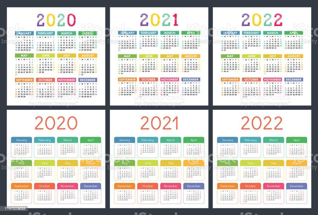2022 Pocket Calendar.Calendar 2020 2021 2022 Years Pocket Calender Big Collection Colorful Set Week Starts On Sunday Basic Grid Stock Illustration Download Image Now Istock