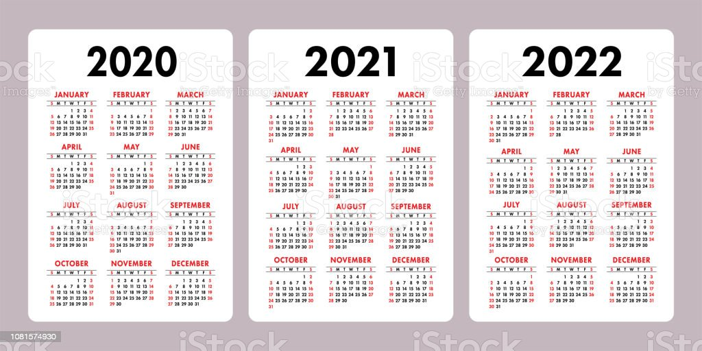 Calendario Verticale 2020.Calendar 2020 2021 2022 Years Vertical Vector Calender