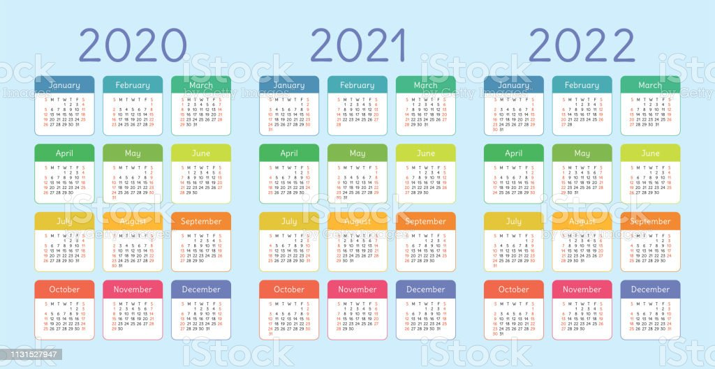 Calendrier 2020 2021.Calendar 2020 2021 2022 Years Vertical Vector Calender