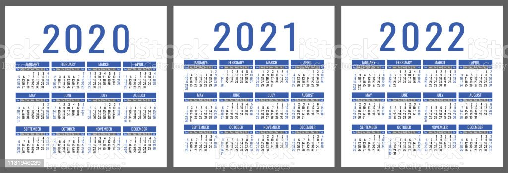 Calendar 2020 2021 2022 Years Vertical Vector Calender Design
