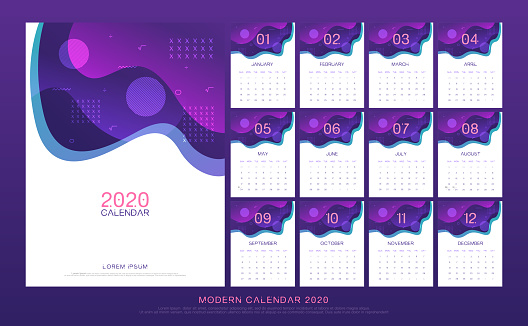calendar 2020 abstract modern design template. Liquid flow Fluid wall and desk type. artwork A5 size with space design concept. vector illustration