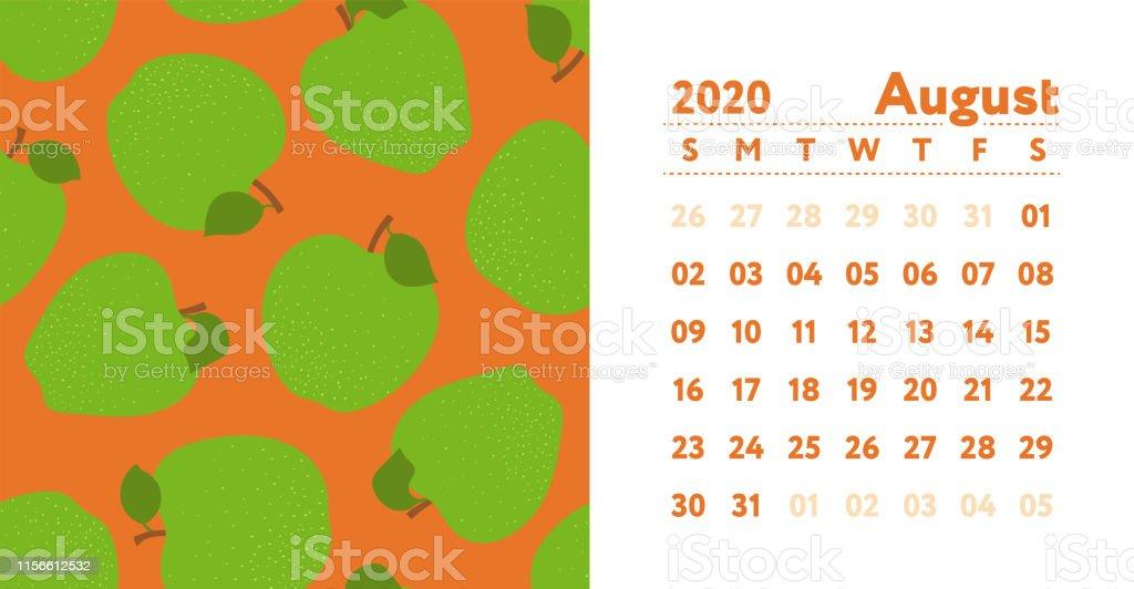 Calendrier Du Mois D Aout 2020.Calendrier 2020 Mois Daout Calendrier De Mur Anglais De