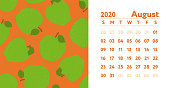 Calendar 2020. August month. Vector English wall calender. Apple seamless pattern. Hand drawn fruits sketch