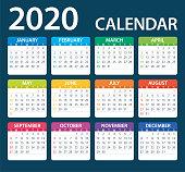 Calendar 2020 Color - illustration. Week starts from Sunday