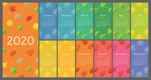 ilustraciones, imágenes clip art, dibujos animados e iconos de stock de calendario 2020 colorido. iconos de planos. hoja, flor, copo de nieve. plantilla de vector de color. calendario inglés de pared listo - calendario de naturaleza