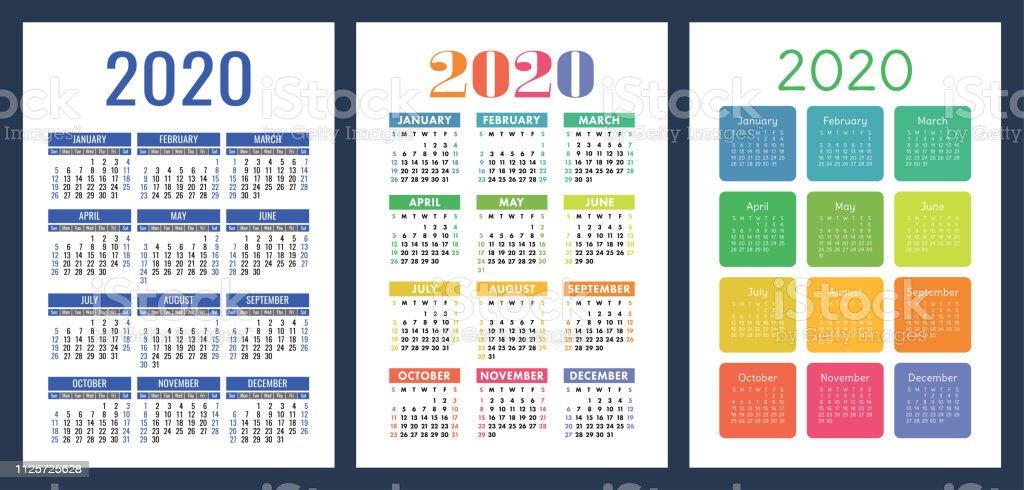 Calendario 2020 Con Week.Calendar 2020 Colorful Set Week Starts On Sunday Basic Grid