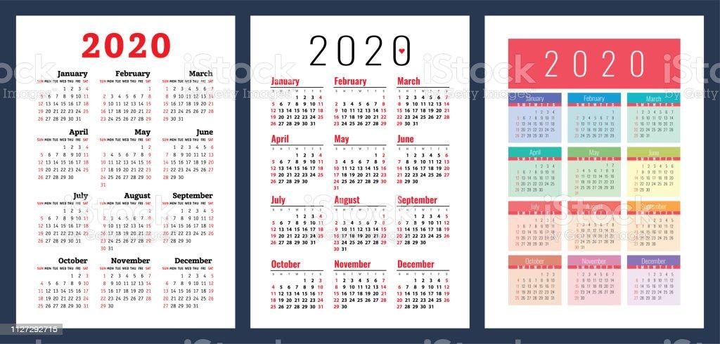 Calendario 2020 Com Feriados.Vetores De Calendario 2020 Conjunto Colorido Semana Comeca