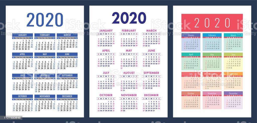 Calendario Anual 2020 Para Imprimir.Ilustracion De Calendario 2020 Colorido Juego La Semana Comienza El