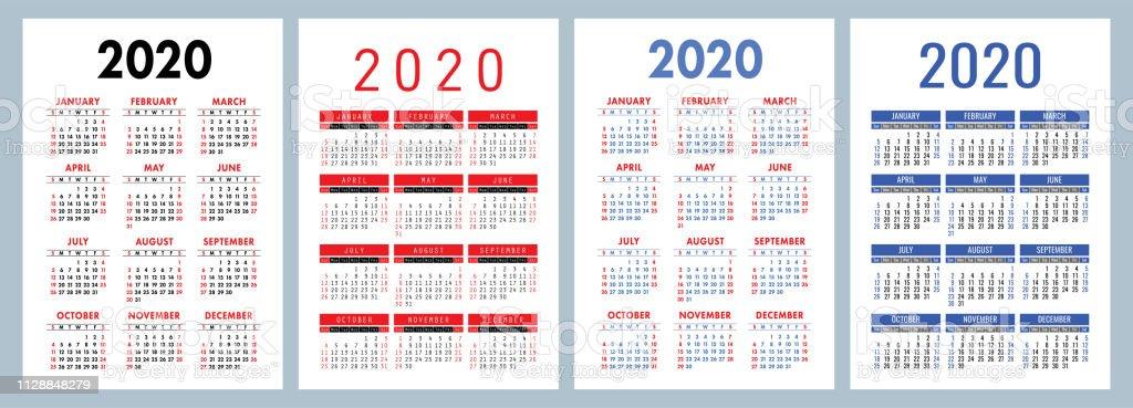Calendario 2020 Semanas.Vetores De Calendario 2020 Conjunto Colorido Semana Comeca
