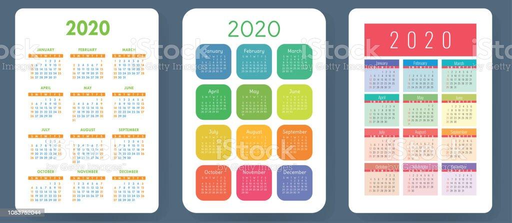 Vector De Calendario 2020.Ilustracion De Calendario 2020 Vectores Colorido Juego Coleccion De Calendario De Bolsillo La Semana Comienza El Domingo Plantilla De Red Basicos Para