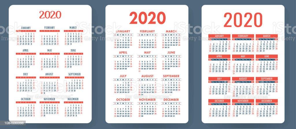 Vector De Calendario 2020.Calendar 2020 Colorful Vector Set Pocket Calender Collection