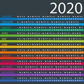 Calendar 2020 - Columns Dark